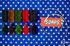 Lego birthday party favours Lego mini-figure and brick vanilla soap