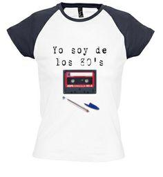 Camiseta Camiseta chica bicolor cassette 80's #camiseta
