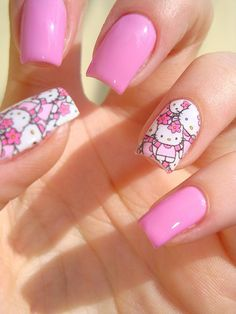 Hello Kitty Nail Designs Ideas hello kitty nail art discovered sandra on we heart it Hello Kitty Nail Designs. Here is Hello Kitty Nail Designs Ideas for you. Hello Kitty Nail Designs hello kitty nail art discovered sandra on we heart . Fancy Nails, Love Nails, Pink Nails, How To Do Nails, Pretty Nails, Matte Pink, Black Nails, Nail Art Designs, Black Nail Designs