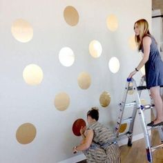 How the girls from Team LC made a gold polka-dot wall {so easy amp; Polka Dot Walls, Gold Polka Dots, Bedroom Decor For Couples, Diy Bedroom Decor, Home Decor, Teenage Girl Bedrooms, Girls Bedroom, Bunk Bed With Slide, Gymnastics Room