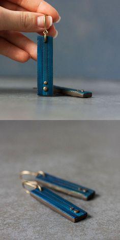 Artisan earrings - Rectangle Dangle earrings - Polymer clay Earrings - Modern geometric earrings