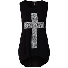 Rut&Circle Gloria Cross Singlet ($28) ❤ liked on Polyvore featuring tops, shirts, tank tops, blusas, black, womens-fashion, black top, tall tank tops, black tank and black cross shirt