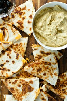 Spicy Avocado Hummus with Cheesy Quesadillas | ReluctantEntertainer