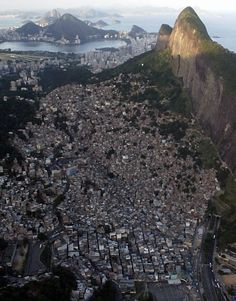 Aerial View of Favela da Rocinha, rio de Janeiro, Brasil. Hard to believe that in 1958 this Favela did not exist Favelas Brazil, Brazil 2016, Outside World, Slums, Travel Memories, Aerial View, Beautiful World, Wonders Of The World, Places To Travel