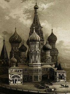 В эти выходные празднуется 870-летие Москвы. Так Собор Василия Блаженного на Красной площади выглядел 175 лет назад. Дагерротип, по которому была выполнена гравюра, снял Ноэль Пэймаль Леребур в 1842 году.