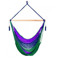 If you are tired of traditional chairs, this is the perfect choice. The Caribbean Dream hammock chair is 100% hand-woven from high quality, pure cotton. Every hammock chair we sell is unique so the colors and pattern may vary. The Caribbean Dream is crafted with dark blue, purple, and green cords. Your weight is evenly distributed by many suspension cords. The large number of pure cotton cords make this hammock among the most comfortable hanging chairs on the market!