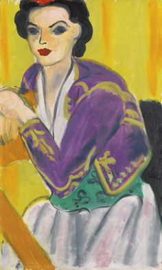 HENRI MATISSE 1869 - 1954 BOLÉRO VIOLET signed Henri Matisse and dated 37 (lower left) oil on canvas 55 by 33cm. 21 5/8 by 13in. Painted in ...