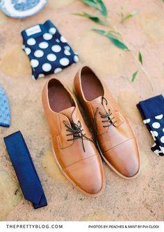 Tan leather shoos with white and navy socks, underwear and skinny tie Navy Socks, For You Blue, Botanical Wedding, Skinny Ties, Groom And Groomsmen, Blue Wedding, Peaches, Tan Leather, Underwear