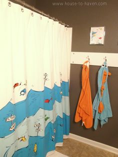 Kids Bathroom: Dr. Suess And Charcoal Grey Walls