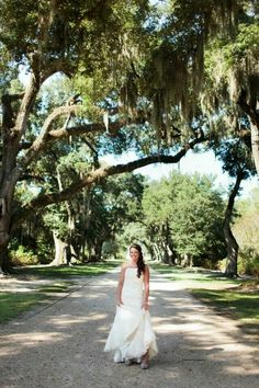 Oak trees St. Francisville Rosedown Plantation bridal shoot