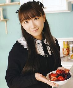"We have celebrities that visit on occasion!  This was a special appearance by Yui Horie!  She knows I like the ""berry bowl"" !"