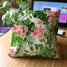 SMAVIA Hot Sale Spring Bird Flower Green Leaves Pillow Towel Polyester Square Pillowcase Chair Seat Throws Pillow Covers