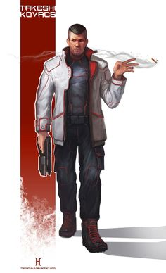Fan art from the book ''Altered carbon'' Takeshi Kovacs Cyberpunk Rpg, Cyberpunk Fashion, Character Concept, Character Art, Character Design, Concept Art, Space Hero, Altered Carbon, Star Wars Rpg