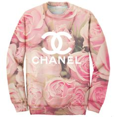 Chain Candy Double C's Allover Print Pink Roses Oversized Sweatshirt ($65) ❤ liked on Polyvore featuring tops, hoodies, sweatshirts, sweaters, shirts, chain top, pink top, rosette top, cotton shirts and rose tops
