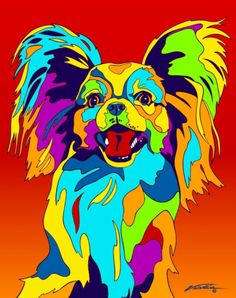 Multi-Color Papillon Dog Breed Matted Prints & Canvas Giclées
