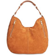 INC Delaney Stud Hobo, Created for Macy's ($60) ❤ liked on Polyvore featuring bags, handbags, shoulder bags, cognac, studded purse, hobo shoulder bags, cognac handbag, red hobo handbags and red handbags