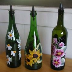 Use old wine bottles to turn into oil container. Paint and add spout!