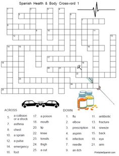 FREE printable Spanish adjectives crossword puzzle and