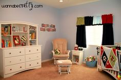 Sports Nursery - I love the reading corner with a nightstand!
