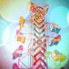 Nursery Whimsical Fine Art Photography, Carnival Ride Print, Chevron, Cerulean, Pink, Yellow, Kaleidoscope Photo, Summer Decor, Square, Baby
