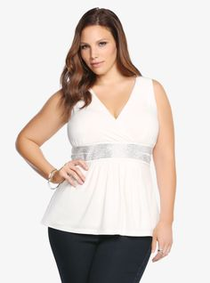 Gemstone Embellished Babydoll Tank Top From the Plus Size Fashion Community at www.VintageandCurvy.com