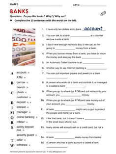 Banks, English, Learning English, Vocabulary, ESL, English Phrases, http://www.allthingstopics.com/banks.html