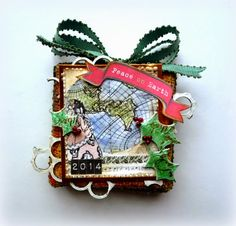 Peace on Earth Canvas by Dana Tatar - Tando Creative Chipboard + Susan K. Weckesser Whimsical Paper and Stamps
