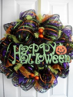 Multi Color Halloween Wreath by Parnellspantry on Etsy, $65.00
