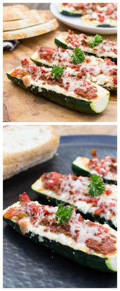 Lasagna Zucchini Boats #glutenfree Wonderful low carb way to use summer zucchini and get your Italian food fix!
