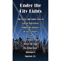 Our City Spotlights Vertical Invitation shows a city skyline with spotlights racing across the sky.