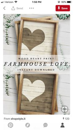 Perfect for just about everywhere! I'm thinking gallery wall, wedding reception, or maybe my master bedroom. Wood Projects, Craft Projects, Projects To Try, Craft Ideas, Valentine Decorations, Valentine Crafts, Diy Wall Art, Diy Art, Painted Signs
