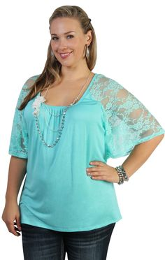 plus size raglan angel body with lace inset and necklace - debshops.com Looovvveee this!!