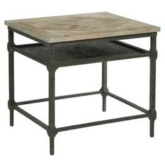 """Industrial Sheik   Product: End tableConstruction Material: Reclaimed metal and elm woodColor: DriftwoodFeatures: One open shelfDimensions: 24.75"""" H x 27"""" W x 24"""" D  For over 124 years, Bernhardt has represented fine American craftsmanship and lasting design, encapsulating the best of classic and contemporary stylings."""