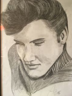 Elvis Presley Stars Portrait Sketch Pencil Drawing Black And White Rocknroll