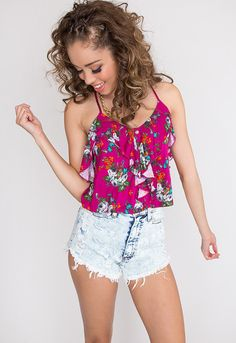 Camille Floral Top - Fuchsia, gorgeous crop top! teen clothing