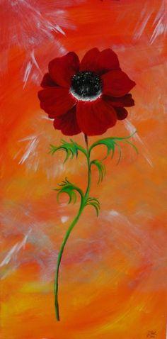 Flower, Acryl auf Leinwand, Glanzfirnis, 40cm x 80cm
