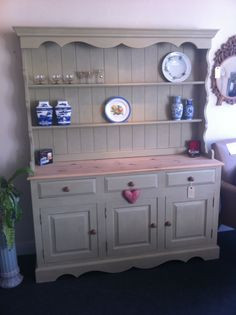 Fabulous shabby chic country kitchen farmhouse dresser, painted in Annie Sloan's Versailles, and waxed for protection. £850  Delivery available please ring 01347 824208