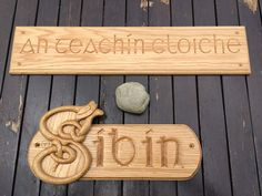 Irish Signs - hand carved in white oak - T. Dundalk Ireland, Woodcarving, White Oak, Bamboo Cutting Board, Hand Carved, Irish, Signs, Handmade, Hand Made