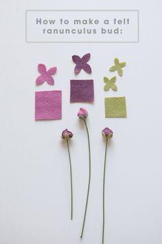 How to make felt ranunculus flower buds!!!