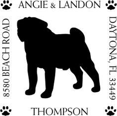 Pug+Pet+Lover+Dog+Return+Address+Stamp