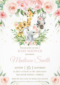 Baby Girl Shower Themes, Girl Baby Shower Decorations, Baby Shower Invites For Girl, Baby Shower Invitations, Themes For Baby Showers, Girl Babyshower Themes, Animal Theme Baby Shower, Baby Shower For Girls, Custom Invitations