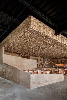 Restaurant Design, Cafe Restaurant, Vintage Restaurant, Coffee Shop Design, Cafe Design, Bar Interior, Interior Design, Pavillion, Textured Walls