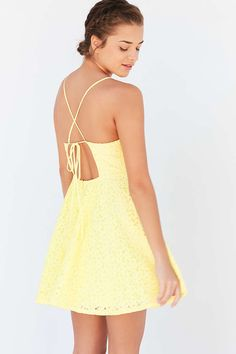 Kimchi Blue Lace Strappy-Back Fit + Flare Dress - Urban Outfitters