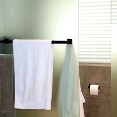 Today's tip: Mount the towel bar on a door. When space is at a minimum, mounting a towel bar on the shower door keeps towels handy. Having that one towel close by to dry off with is essential.   Check out our collection of stainless steel rails, made to measure for your bathroom: