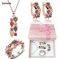 무료 배송 반지 사이즈 6-9 골드 도금 여러 가지 빛깔의 지르콘 목걸이 귀걸이 세트 큐빅 지르코니아 여성 보석 세트