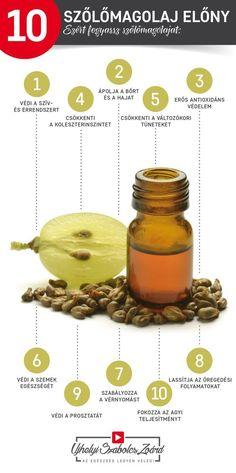 A szőlőmagolajban megtalálható a kaempferol, a rutin, a kvercetin, a rezveratrol, az antocianidok, a katechin, az epicatechin, valamint E-vitamin is. A linolsav gátolja a KOLESZTERIN lerakódását, biztosítja a megfelelő keringés meglétét, vagyis védelmet jelent SZÍV- és Érrendszerünknek. Az OPC-k és a polifenolok hozzájárulnak a sejtek károsodásának megakadályozásához, az allergiás és GYULLADÁSos problémák megelőzéséhez is. Fogyassz te is rendszeresen szőlőmagolajat! Az egészség legyen veled! Doterra, Home Remedies, The Cure, Clean Eating, Health Fitness, Medical, Herbs, Nutrition, Healthy Recipes