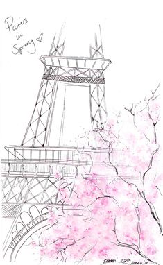 Watercolour illustration Titled Paris in Spring by FallintoLondon