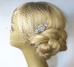 Birdcage Veil and a Hair Comb 2 Items  Bridal by IreneJewelry