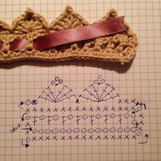 Crochet Headband I 'm very happy with my new choker, it can also be a baby crown :) For the ones who wonder how I did it, this is my diagram (sor. Crochet Crown Pattern, Crochet Edging Patterns, Crochet Diagram, Crochet Motif, Crochet Flowers, Hand Crochet, Knit Crochet, Crochet Hats, Crochet Headbands