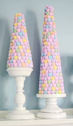 Foam cone covered in conversation hearts.